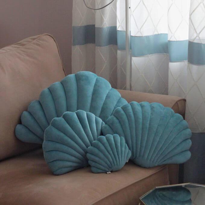 Фото 1 - Бархатные подушки Shell Бирюзовый -15%.