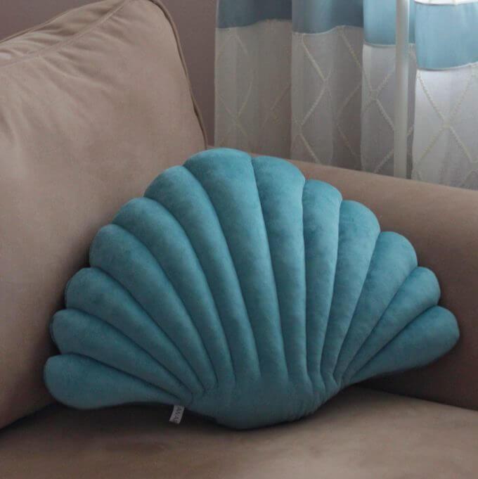 Фото 3 - Бархатные подушки Shell Бирюзовый -15%.