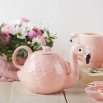 Чайник Фламинго, розовый чайник, подарок, посуда в подарок
