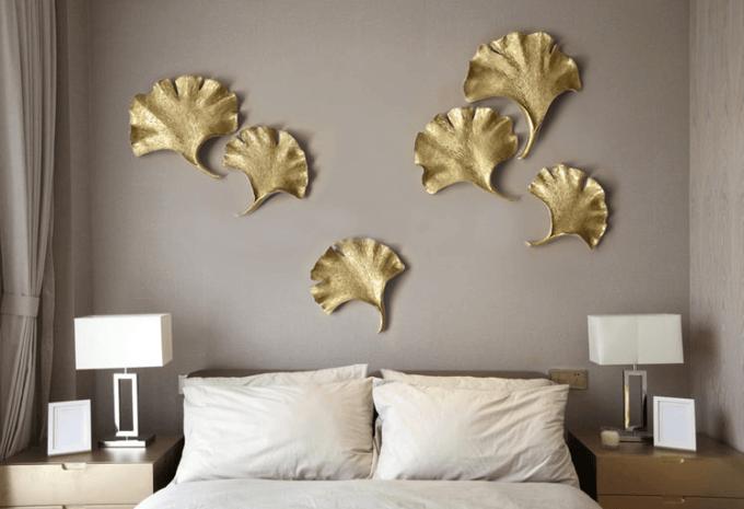 декор в спальню, декор изголовье, листья, украшене дома