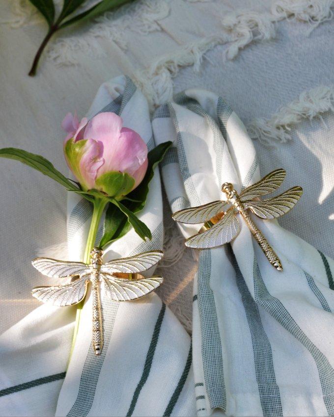 Фото 1 - Кольца для салфеток Стрекозы золотые (2шт).
