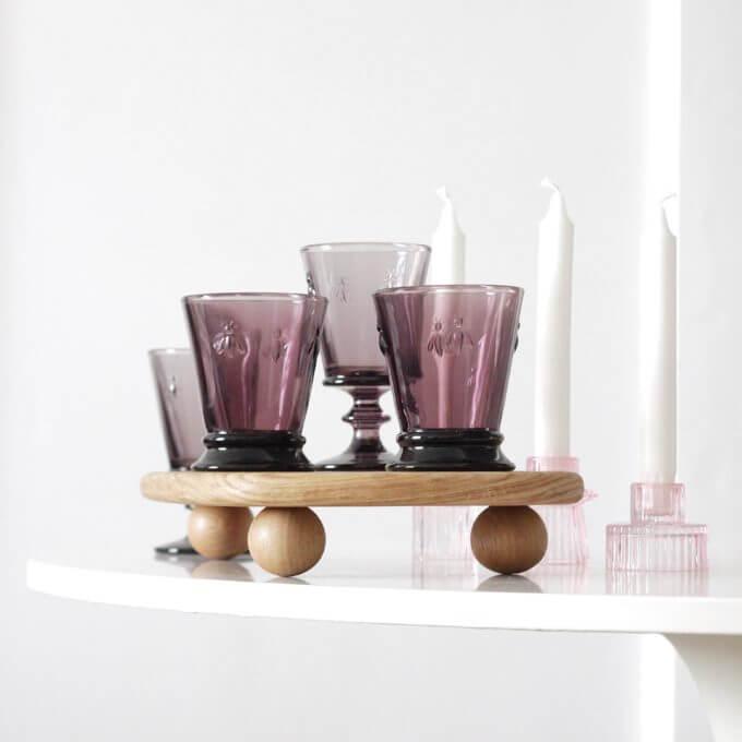 Фото 1 - Бокалы и стаканы с пчелками лиловые.