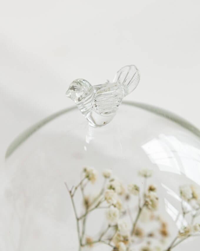 Фото 2 - Стеклянный купол с птичкой на подставке.