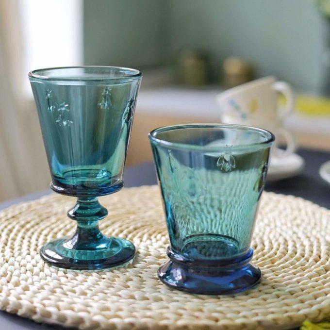 Фото 1 - Бокалы и стаканы с пчелками синие.
