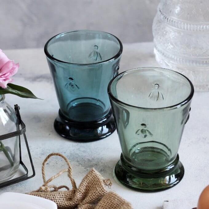 Фото 3 - Бокалы и стаканы с пчелками синие.