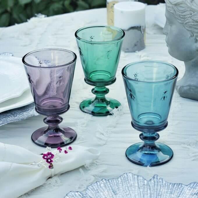 Фото 2 - Бокалы и стаканы с пчелками синие.