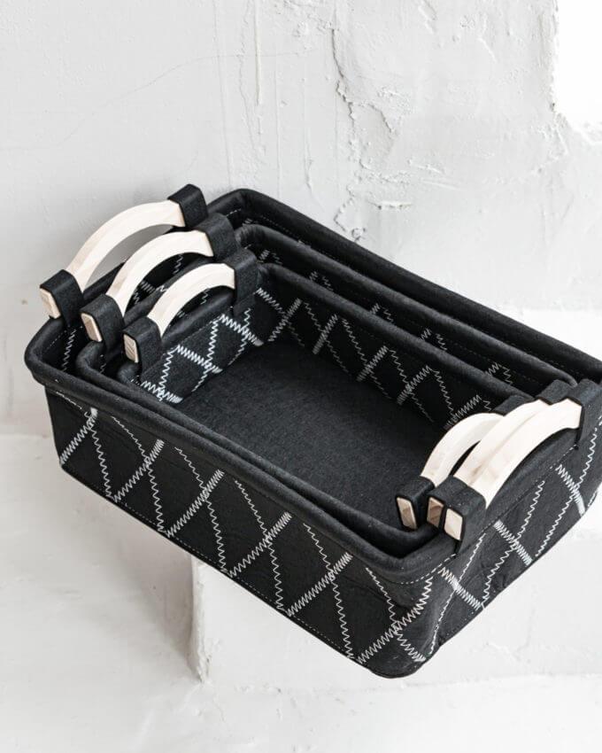 Фото 1 - Фетровые корзины черные.