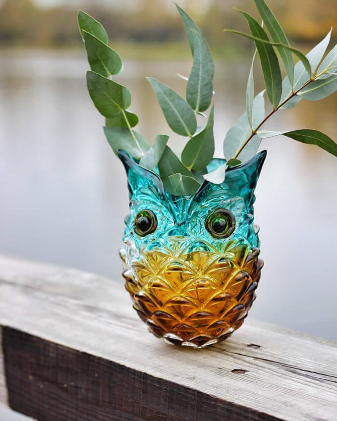 Фото 1 - Ваза из цветного стекла Owl.