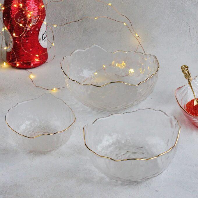 Фото 3 - Прозрачные салатники с золотым краем.