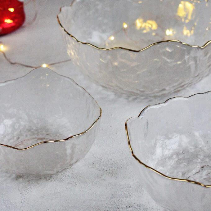 Фото 2 - Прозрачные салатники с золотым краем.