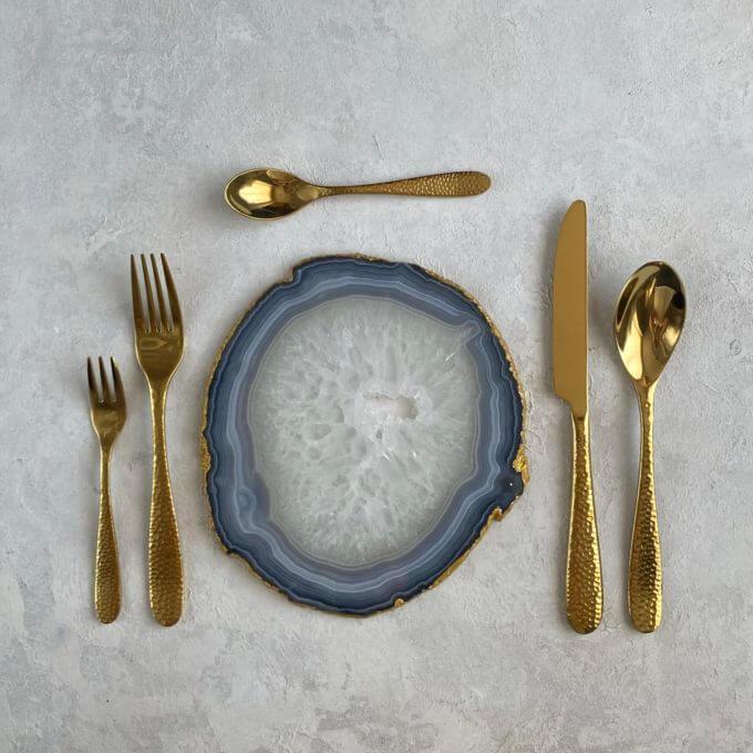 Фото 1 - Сет из 5 золотых столовых приборов Sun.