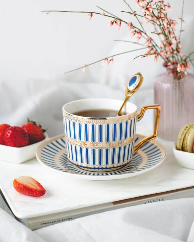 Фото 1 - Кофейная пара в синюю полоску.