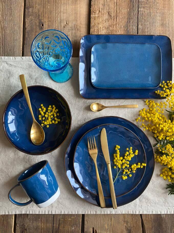 """Фото 2 - Глубокая синяя """"мятая"""" тарелка."""