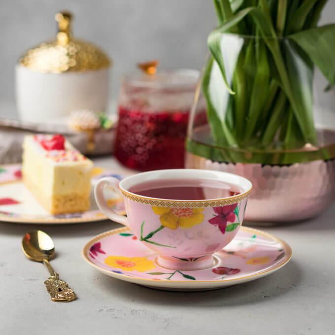 Фото 3 - Розовая чайная пара из костяного фарфора.