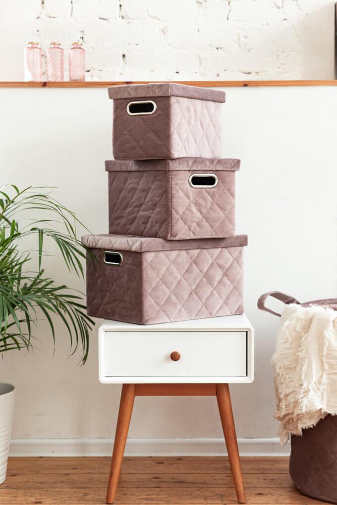 Фото 1 - Бархатные ящики для хранения Mauve.