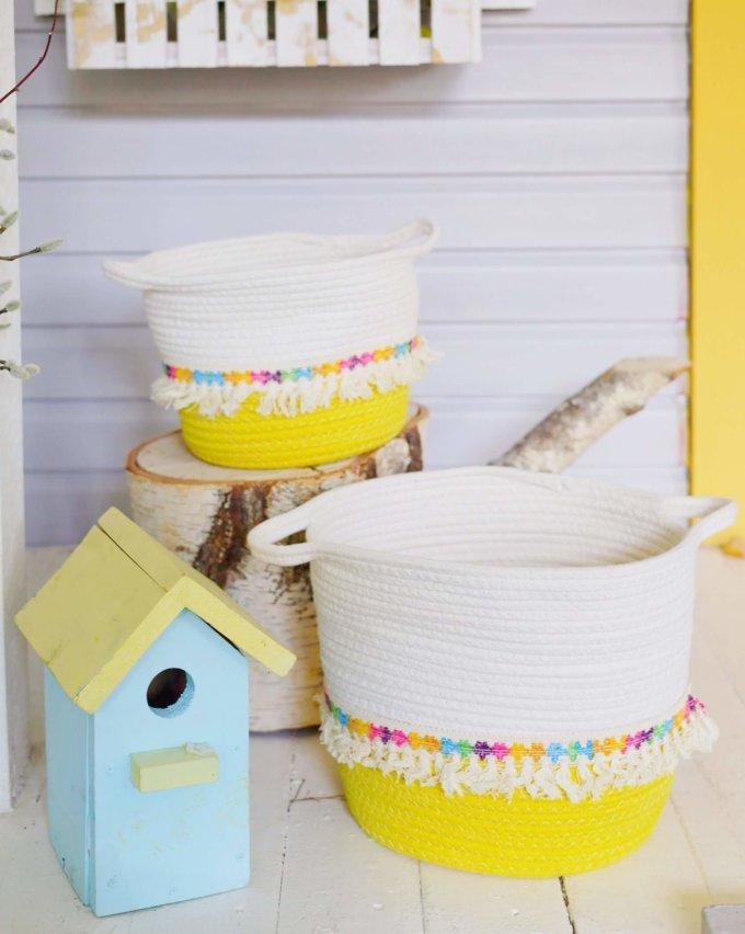 Фото 1 - Цветные корзины для хранения с бахромой -15%.