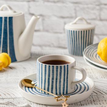 Фото 6 - Чайная пара в сине-белую полоску.