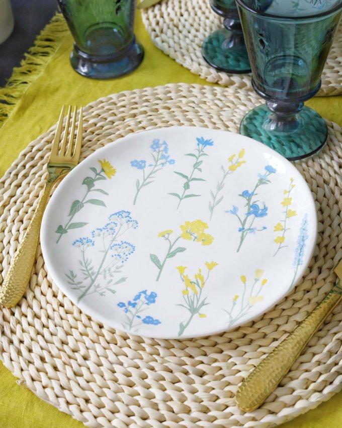 Фото 5 - Плоская тарелка с желто-голубыми цветами.