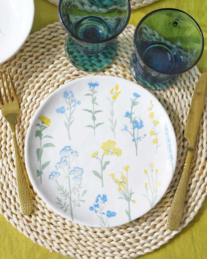 Фото 4 - Плоская тарелка с желто-голубыми цветами.