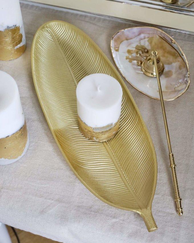 Фото 1 - Вытянутое блюдо для свечей Лист.