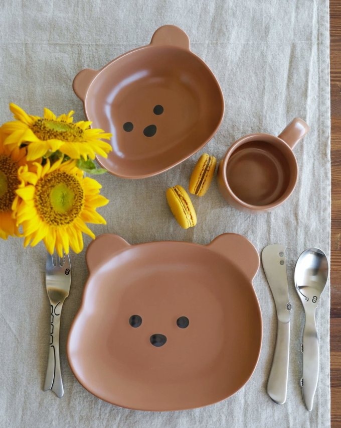 Фото 1 - Детская посуда с коричневым медвежонком.