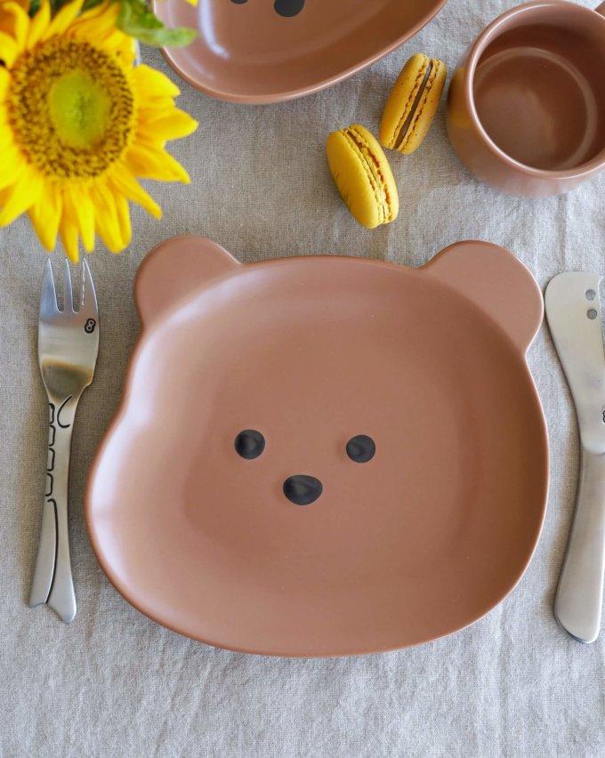 Фото 2 - Детская посуда с коричневым медвежонком.