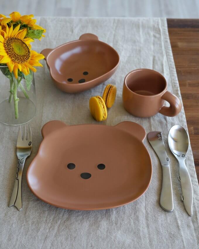 Фото 4 - Детская посуда с коричневым медвежонком.
