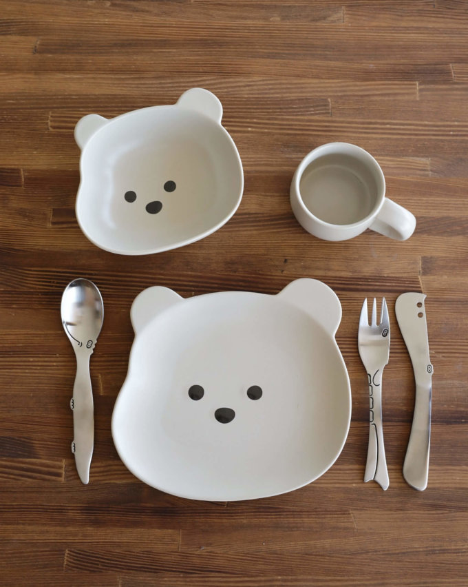 Фото 1 - Детская посуда с серым медвежонком.