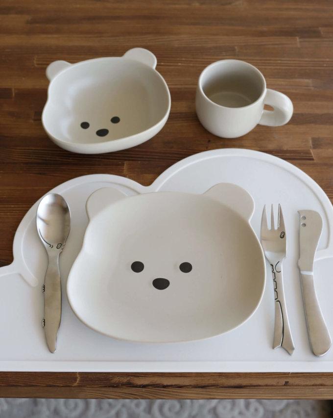 Фото 2 - Детская посуда с серым медвежонком.
