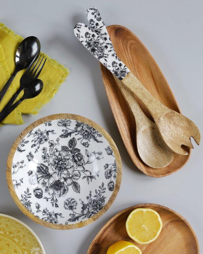 Фото 4 - Приборы для салата из древесиы манго с эмалью.