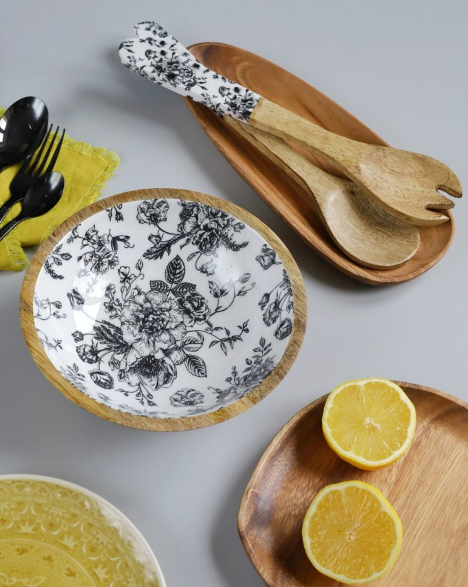 Фото 1 - Салатник из древесины манго с эмалью.
