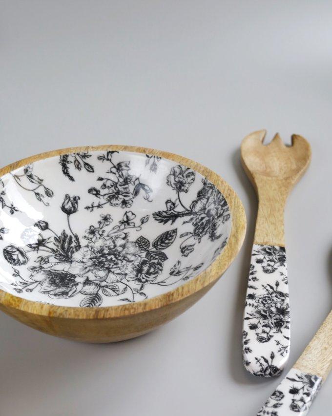 Фото 2 - Салатник из древесины манго с эмалью.