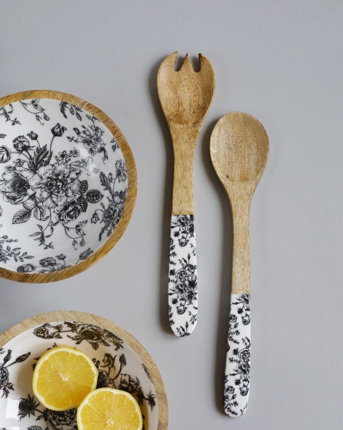 Фото 1 - Приборы для салата из древесиы манго с эмалью.