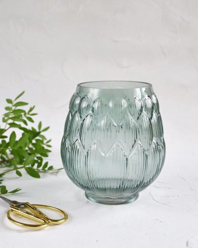 Фото 1 - Ваза Артишок из стекла мятного цвета.